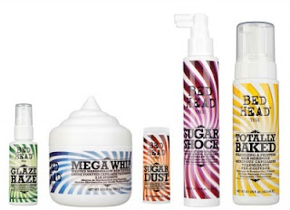 Tigi Bed Head's new Candy Fixation hair products with names like Sugar Shock, Totally Baked, Mega Whip and Glaze Haze.