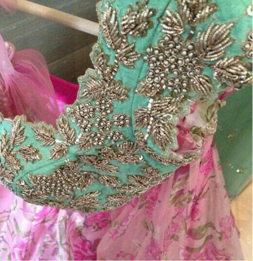 Intricate handwork with pearls
