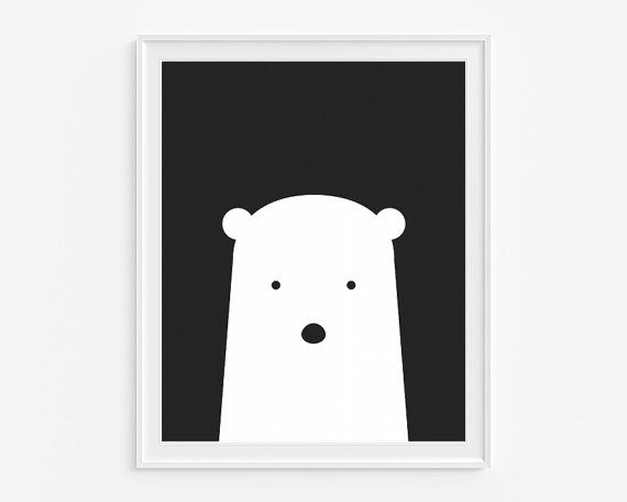 Polar bear nursery giclee print Black and by cocoandmintstudio