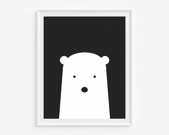 polar bear nursery wall art printable art black by delierrekids - Printable Art For Kids