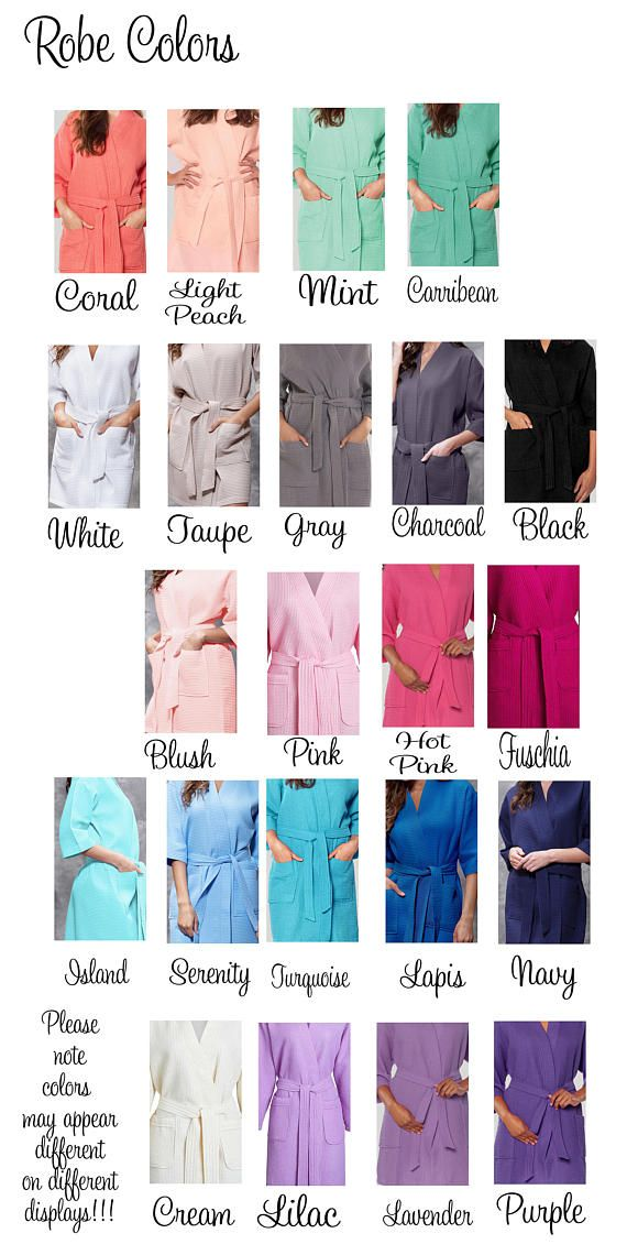 Listing is for 6 Getting Ready Robes. Our monogrammed waffle robe kimono spa robe is the perfect light weight robe with the waffle weave inside and out. Waffle robes are the perfect bridesmaids gift for your wedding party. Waffle robes are great for anyone after a shower, at the