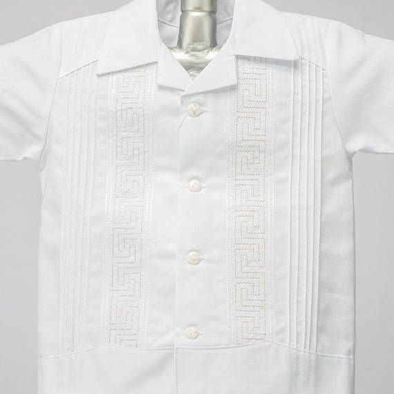 Boys Linen Guayabera Boys Baptism Short Sleeve Shirt w/