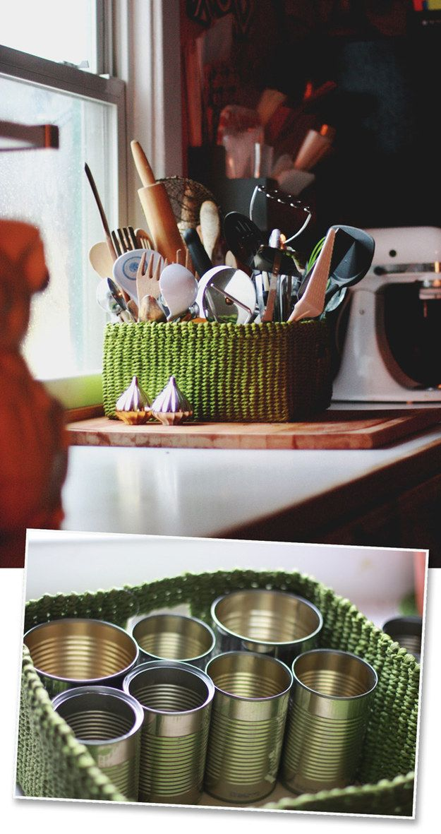 Turn a basket and clean aluminum cans into a sorted organizer for your kitchen or bathroom.