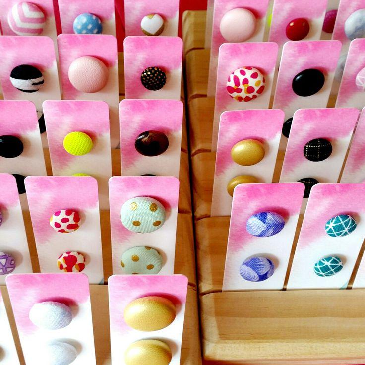 FABRIC BUTTON EARRINGS • Handmade Original Design Fabric Button Jewellery • Available from www.poesiehandmade.com