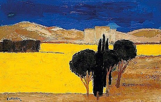Bernard CATHELIN (1919 - 2004) CHAMP DE COLZA EN OMBRIE, 1990 Huile sur papier monté sur panneau | h: 58 w: 90 cm