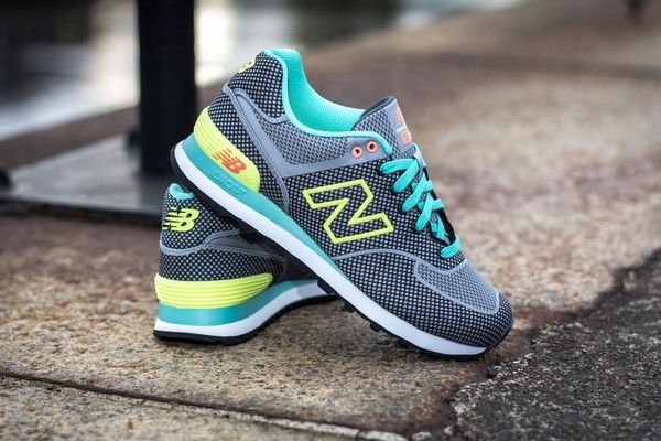 "New Balance 574 ""Woven"" Pack Gris, turquoise, vert lime"