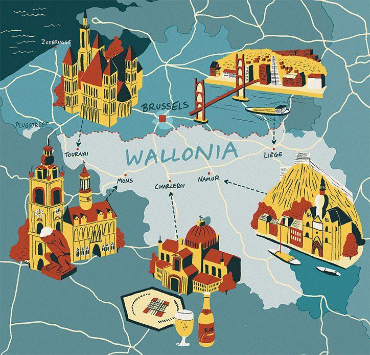 Wallonia map : Mons (Hôtel de ville, Beffroi, singe du Grand Garde), Tournai, Charleroi, Namur, Liège - Sam Brewster