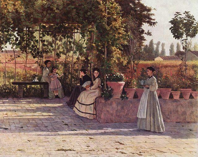 """Silvestro Lega, """"Il pergolato"""", 1868, olio su tela. Milano, Pinacoteca di Brera"""