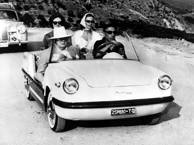 Summer of 1959 ~ Aristotle Onassis drives Winston Churchill and companions to see the famous Temple of Apollo at Delphi