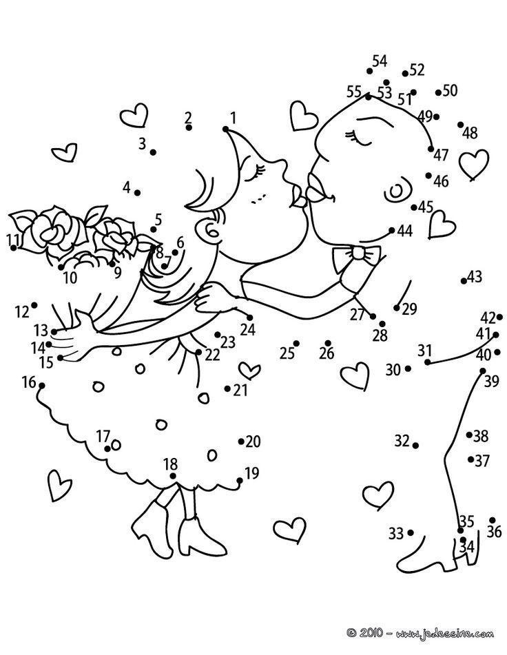 Les amoureux points à relier difficile - Jeux des points à relier Saint Valentin