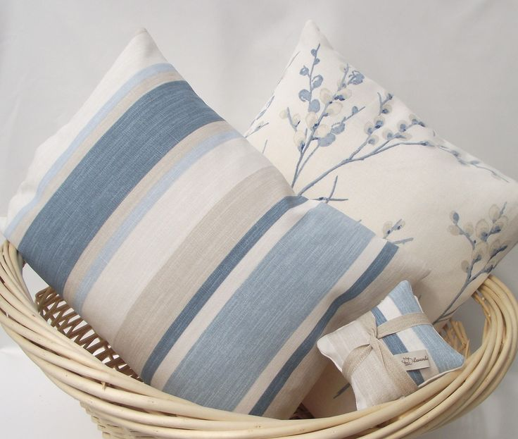 Two Handmade Cushions, Laura Ashley Blue Cushions, Plus Lavender Sachets. Seaspray Pussy Willow Cushions, Seaspray Awning Stripe Cushions by LavenderLivingCrafts on Etsy