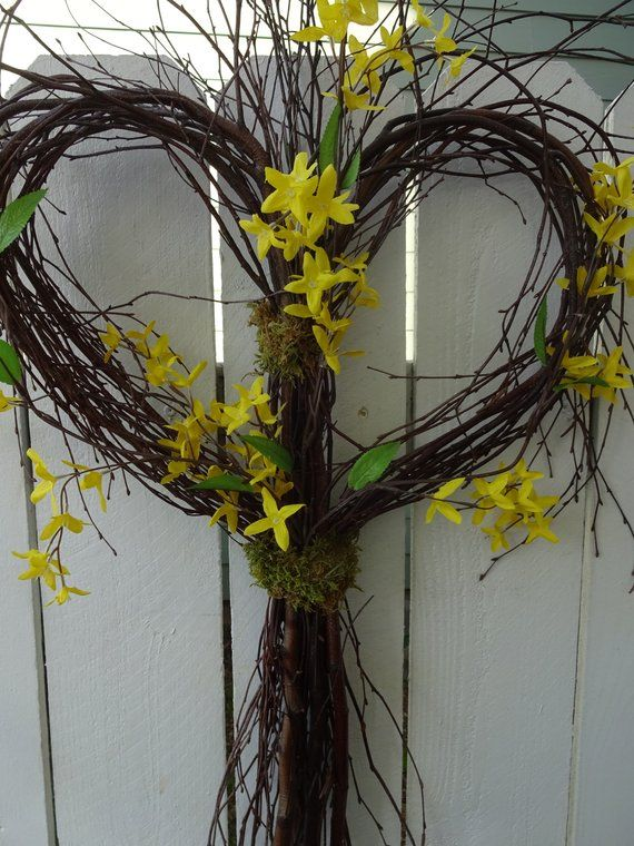 Heart Twig Wreath Forsythia Wreath Twig Wreath Wedding Decorations Summer Wreath Front Door Wreath Heart Shaped Twig Wreath Forsythia Wreath Twig Wreath Heart Shaped Wreaths