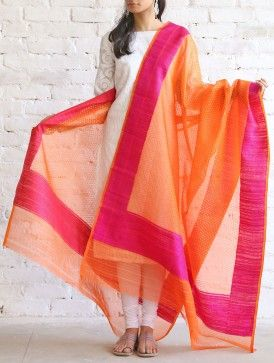 Orange-Pink Kora Silk Dupatta