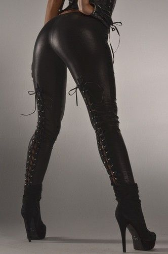 SEXY WET LOOK BLACK FAUX LEATHER LEGGINGS W/ LACE UP BACK LEGGINGS TIGHTS PANTS | eBay