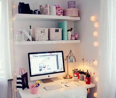 Desk with floating shelves