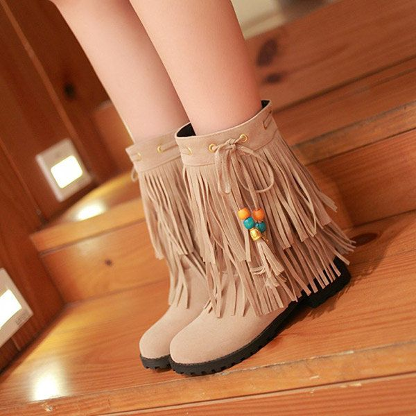 Big Size Women Flat Ankle Boots Ladies Tassels Ankle Short Boots Slip On Boots - US$34.87  #women  #shoes #fashion