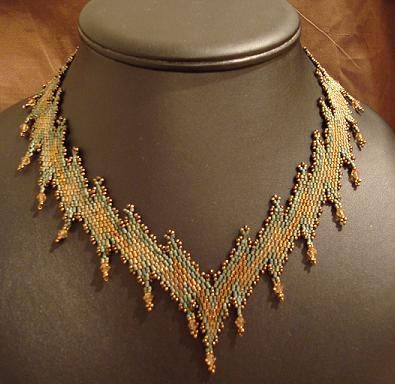 Zigzag Necklace by Anna Hesselman, based on a  pattern in Bead & Button. Diagonal peyote stitch.