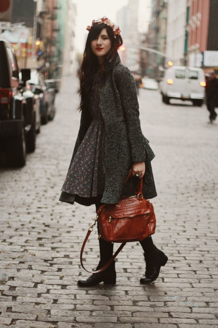 Dress, Warm Coat, Boots and Flowers in the hair