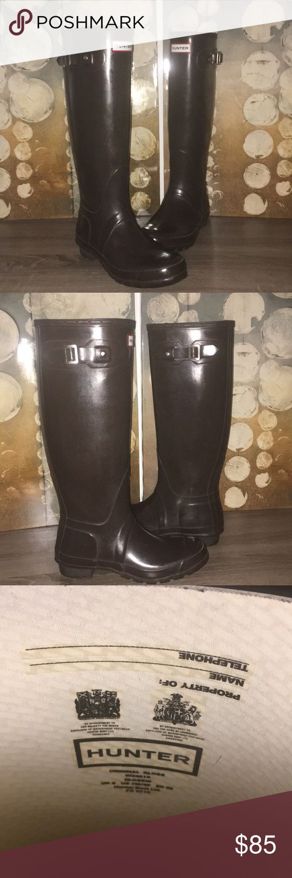 Authentic Hunter Rain Boots Tall Hunter Rain Boots. LIKE NEW. Have been worn once. Are the wrong size. Do not have the original box. Hunter Boots Shoes Winter & Rain Boots