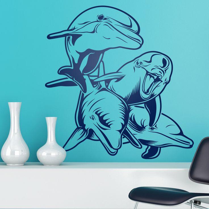 4 Delfines en fondo marino - VINILOS DECORATIVOS