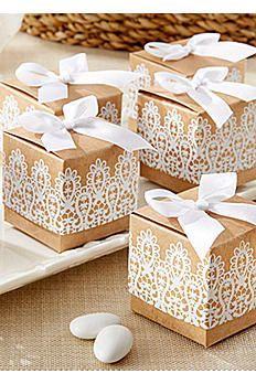 Rustic Romance Kraft Lace Favor Box Set of 24 28150NA