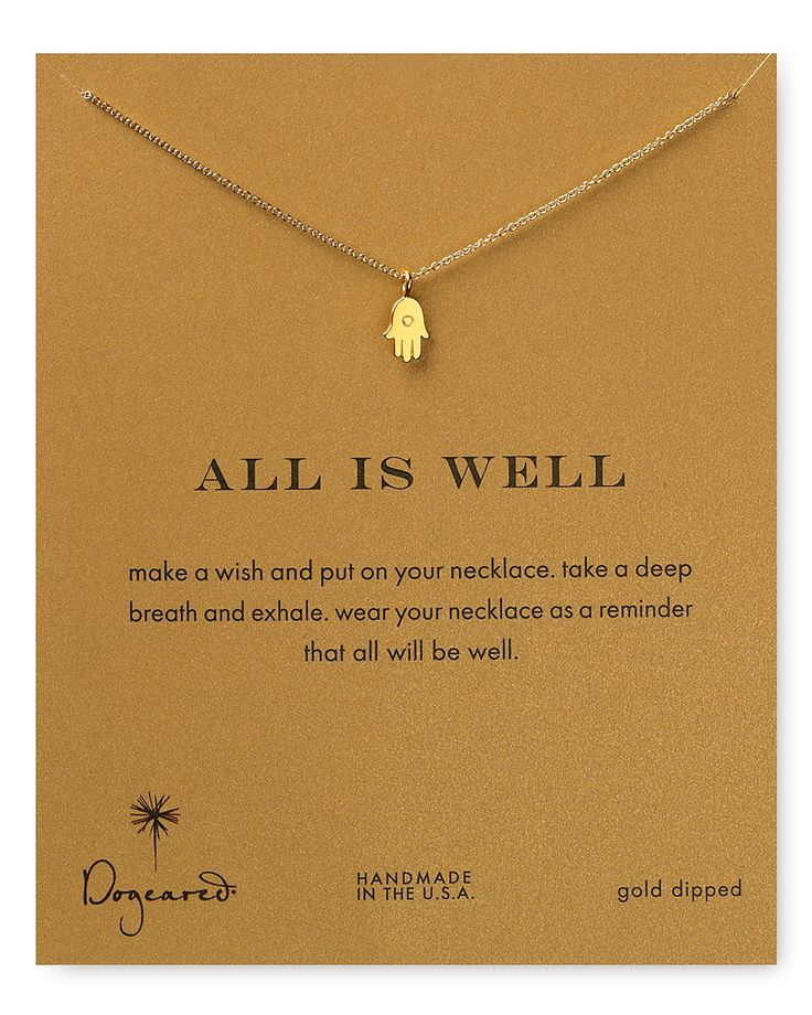 """Dogeared All is Well Hamsa Necklace, 18"""" 