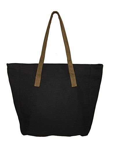 Carolina Sweethearts Black Plain Tote Bag With Zipper Closure And Inside Zipper Pocket >>> Want additional info? Click on the image.