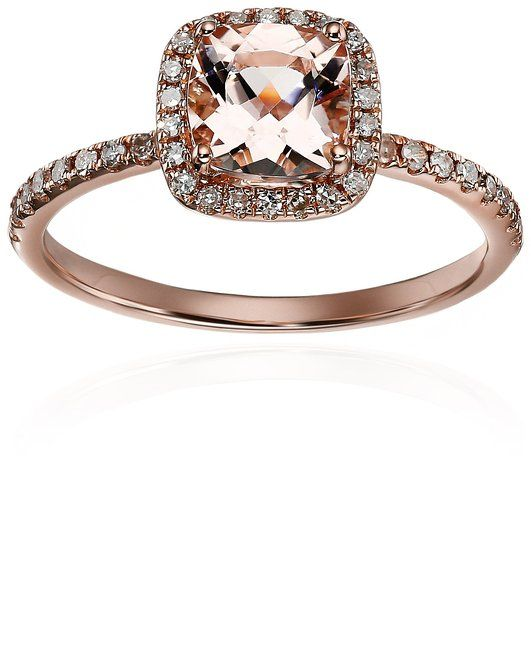 Superior Vintage Rose Gold Morganite And Diamond Cushion Engagement Ring   Under  $500!