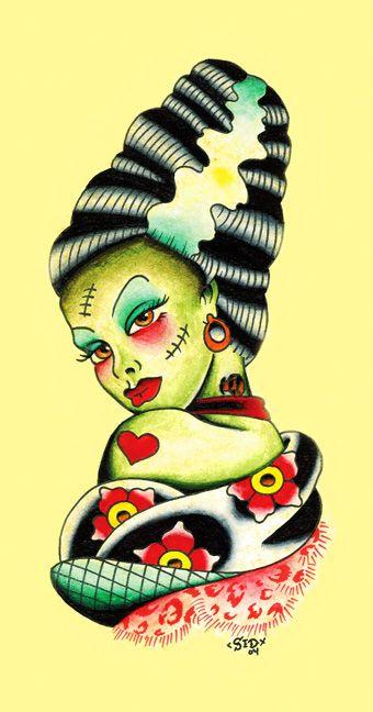 Bride of Frankenstein: Tattoo Ideas, Canvas Prints, Art Canvas, Style Tattoo, Sid Stankovitz, Tattoo Art, Bride Of Frankenstein, Christian Tattoo, Retro Tattoo