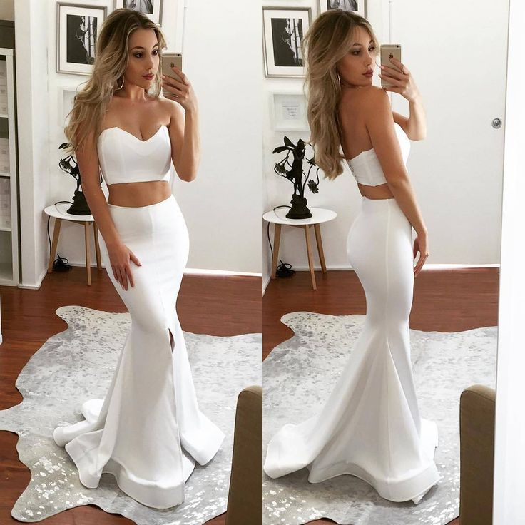 Simple And Elegant White Satin Sweetheart With Jacket: 25+ Best Ideas About White Prom Dresses On Pinterest