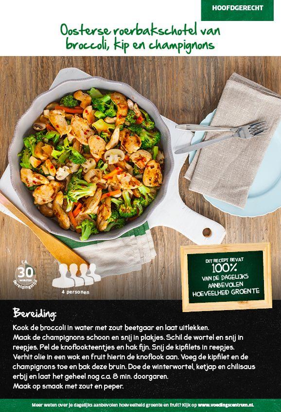 Recept voor Oosterse roerbakschotel van broccoli, kip en champignons #Lidl
