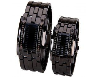 $19.63 Waterproof Watch with Blue Light Time-Date Indicate Steel Watchband for Couple