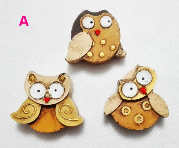 Three OWL OWL magnets to hang on the by EddyAllHandMade on Etsy