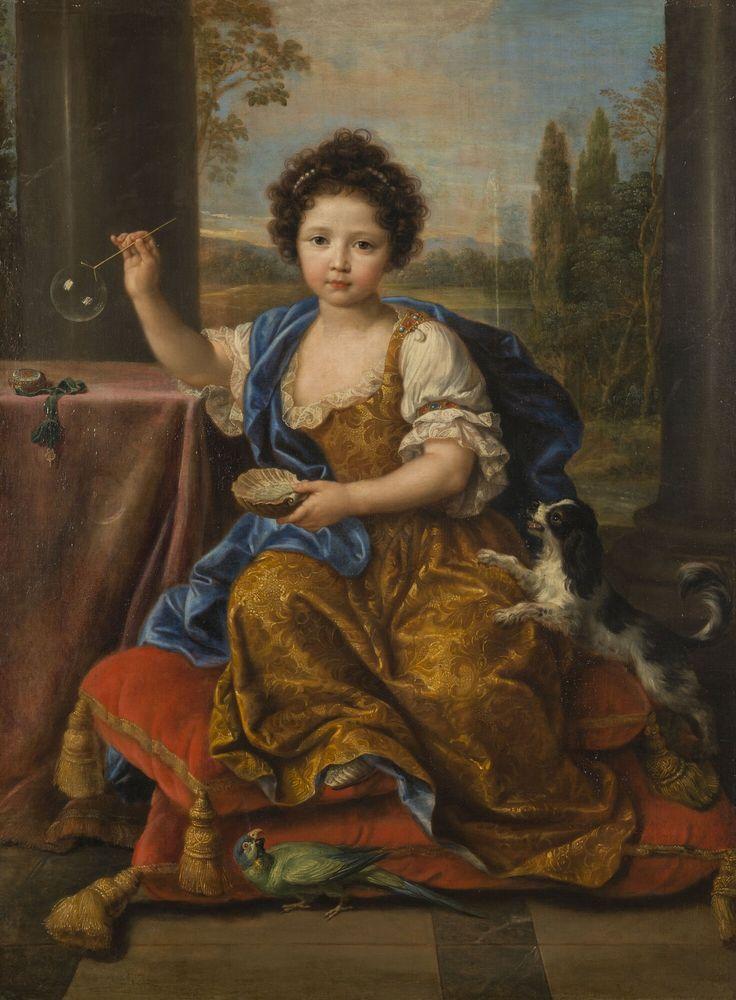 Pierre Mignard - Louise-Marie de Bourbon, dite Mademoiselle de Tours - 1681-2 - Versailles. Louise-Marie de Bourbon était la 4e enfant de Louis XIV et de Madame de Montespan. Née en 1674 et légitimée en 1676, elle tomba malade et décéda en 1681, loin de ses parents. Ce portrait commémoratif ne fait allusion à sa mort qu'à travers la bulle de savon, qui représente l'aspect éphémère de la vie.