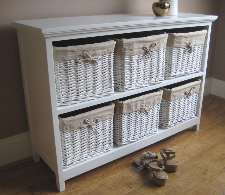 5 Basket White Wicker Chest Of Drawers