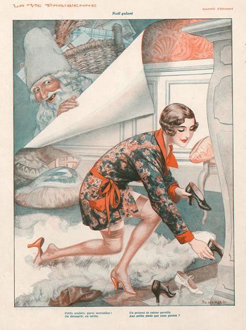 creepy Santa illustration by Cheri Herouard, 1930 for La vie parisienne
