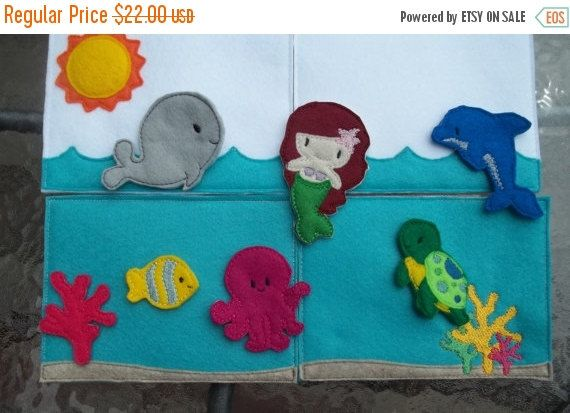 Christmas in July 2016 Mermaid  Ocean Felt  Board Mermaid Felt Board. Mermaid Doll . Pretend Play . Activity Board . Ocean Life . Children . by Rags2richescrafts on Etsy