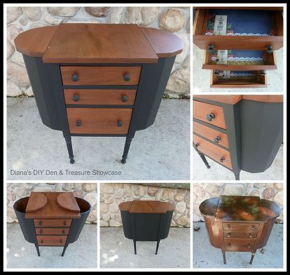 painted furniture midcentury sewing cabinet redone, painted furniture