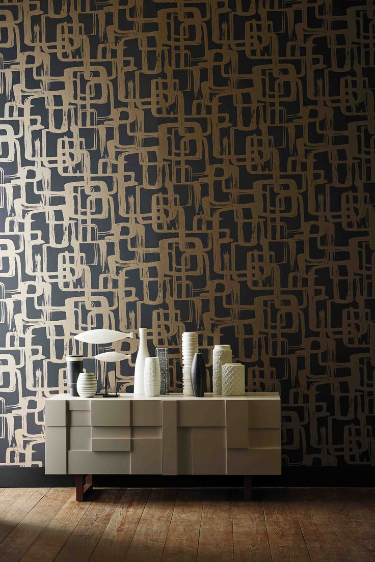 Add a 60s vibe to your home with Harlequin's Asuka wallpaper which features brushstroked interlocking rectangles!