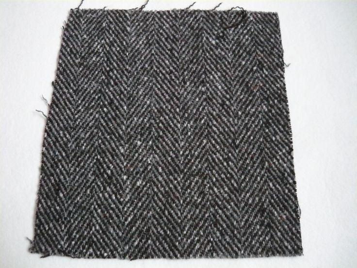 Vlněná rybí kost černo-šedá