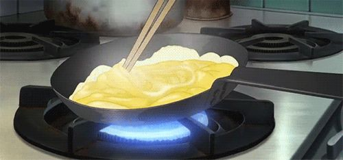 ☆**this is an animated gif~ please click to see the animation!**☆ cooking with frying pan & chopsticks, amazing animation, anime food gif