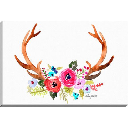 Lend a natural touch to the living room or master suite with this lovely canvas print, featuring an antler and flower watercolor motif. ...