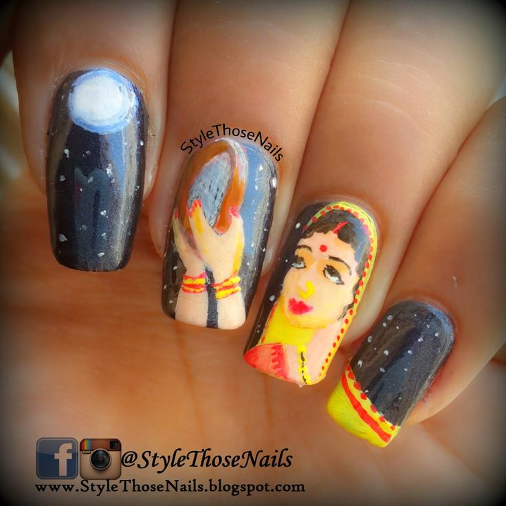 Style Those Nails: Karwachauth Nailart ! Happy Karwachauth Visit my blog for more ! #indian #indiannails #indianfestivalnails #karwachauthnails #stnchallenges #illnailchallenge #indianfestivity