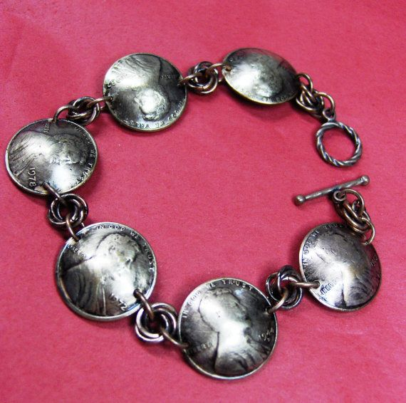 Antiqued Domed Chainmaille Copper Penny Bracelet by SnazzyTrinkets, $25.00