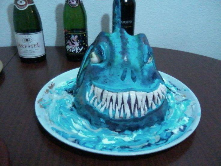 tarta de tiburon monstruo, fondant