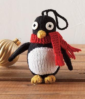 Free Knitting Pattern for Penguin Ornament - approximately 4.5″ tall