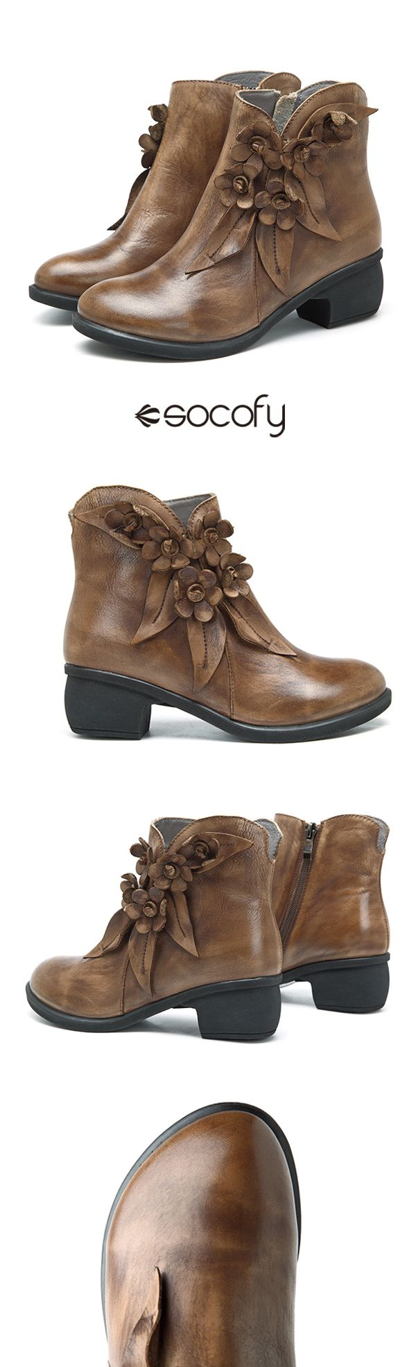 US$54.33   SOCOFY Sooo Comfy Vintage Handmade Floral Ankle Leather Boots