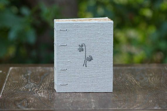 Small linen coptic notebook in beige with print of violet