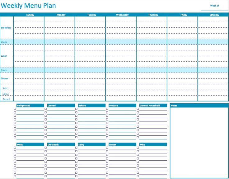 Weekly Menu Planner Template For Numbers   Free IWork Templates