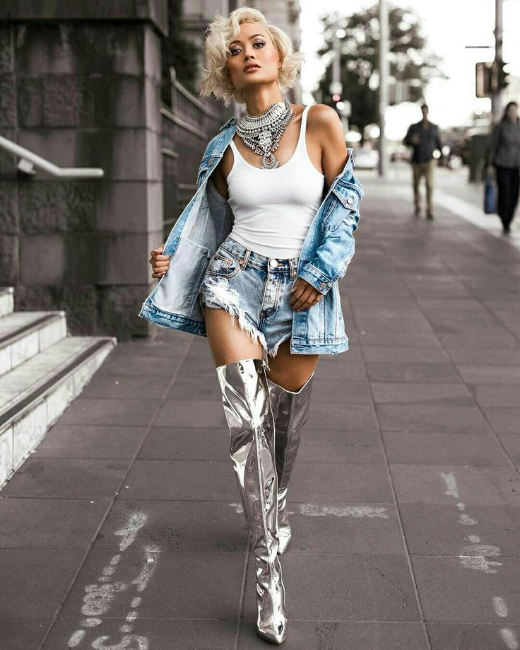 Micah Gianelli Thigh High Boots In Chrome Silver Shoes Knee Thigh High Otk Boots